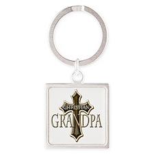 Christian Grandpa Square Keychain
