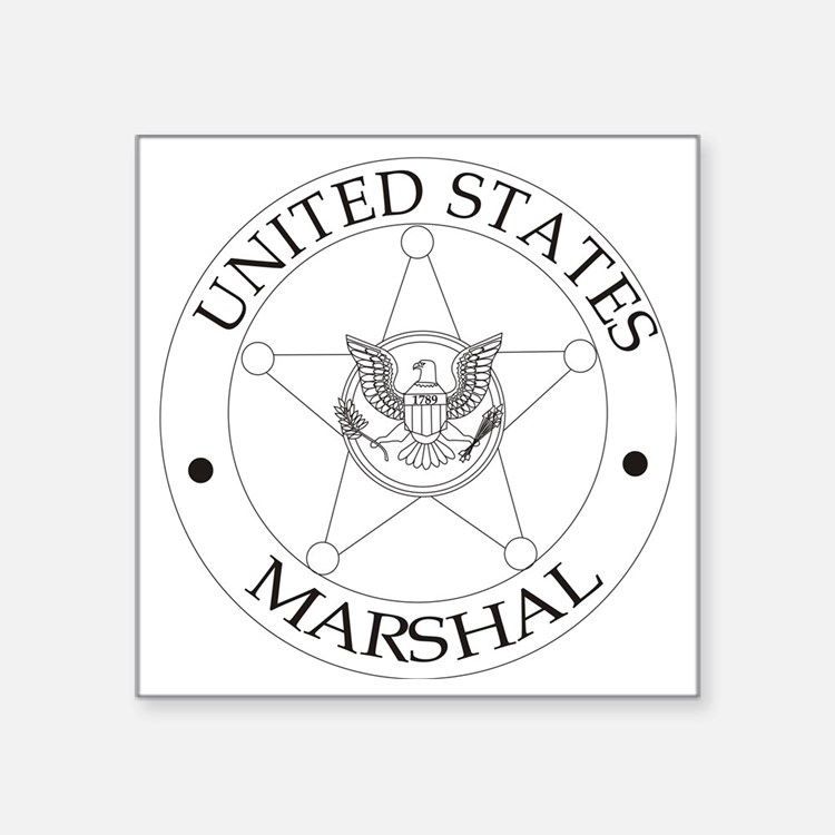 "uS Marshal Square Sticker 3"" x 3"""
