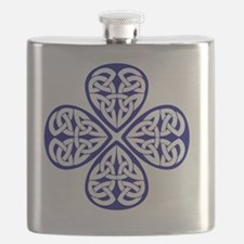 navy shamrock celtic knot Flask