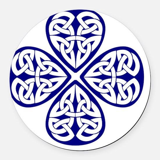 navy shamrock celtic knot Round Car Magnet