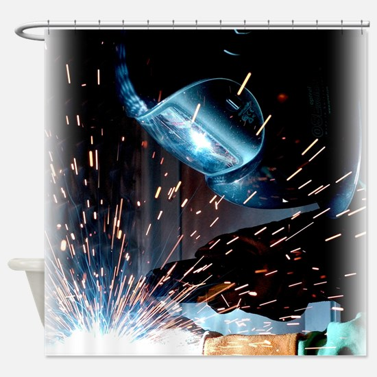 Welders Do It Hotter 50 inches wide Shower Curtain