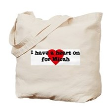 Heart on for Micah Tote Bag