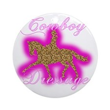 cowgirl dressage trot glowing leopa Round Ornament