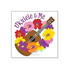 """Ukulele and Me Square Sticker 3"""" x 3"""""""