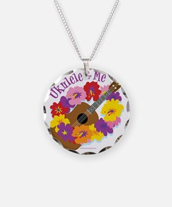 Ukulele and Me Necklace Circle Charm