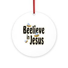 Beelieve in Jesus Black Round Ornament
