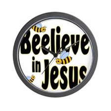 Beelieve in Jesus Black Wall Clock