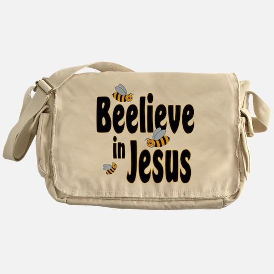 Beelieve in Jesus Black Messenger Bag