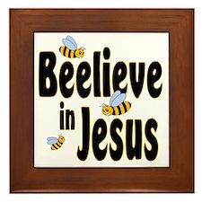 Beelieve in Jesus Black Framed Tile