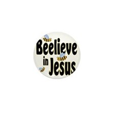 Beelieve in Jesus Black Mini Button