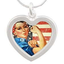 Rosie the Riveter Silver Heart Necklace
