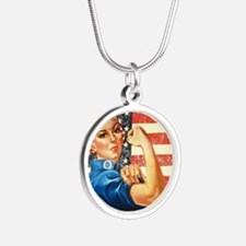 Rosie the Riveter Silver Round Necklace