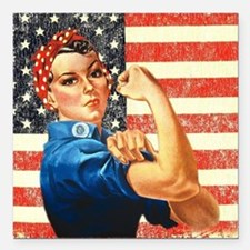 "Rosie the Riveter Square Car Magnet 3"" x 3"""