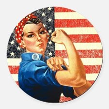 Rosie the Riveter Round Car Magnet