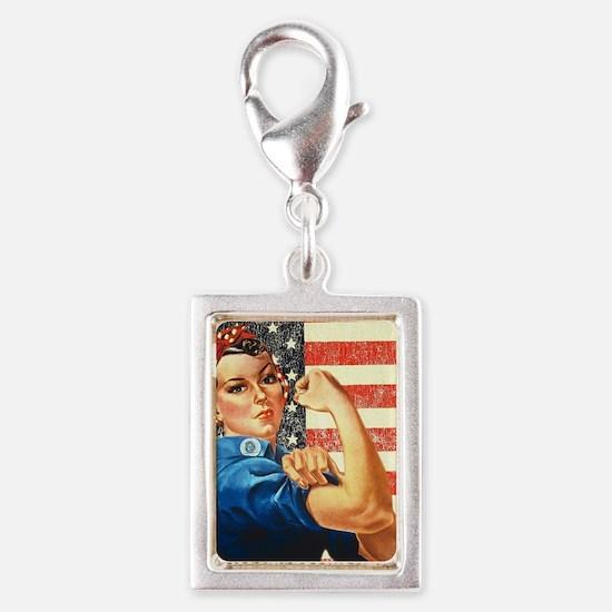 Rosie the Riveter Silver Portrait Charm
