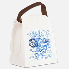 lightblue circuitboard flowchart Canvas Lunch Bag