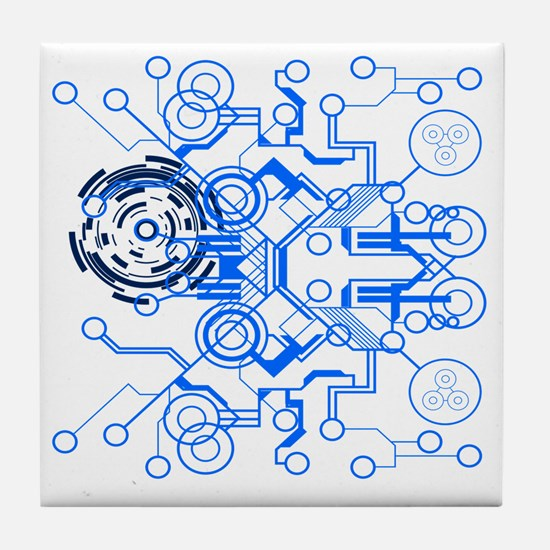 lightblue circuitboard flowchart Tile Coaster