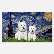 Starry-2Westies (custom) Sticker (Rectangle)