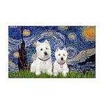 Starry-2Westies (custom) 35x21 Wall Decal