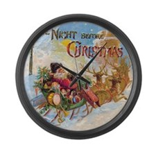 Vintage Christmas The Night Befor Large Wall Clock
