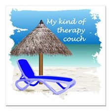 """Therapy Couch Square Car Magnet 3"""" x 3"""""""
