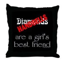 Girl's Best Friend Black Throw Pillow