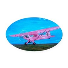 Pink Piper Cub Oval Car Magnet