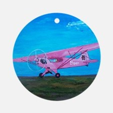 Pink Piper Cub Round Ornament