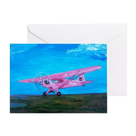 Pink Piper Cub Greeting Card
