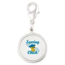 Sewing Chick #3 Silver Round Charm