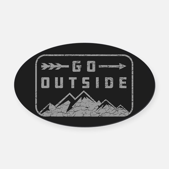 Go Outside Oval Car Magnet