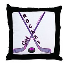 hockey_girl_3 Throw Pillow