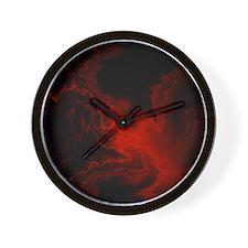 fractal smoke red Wall Clock