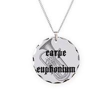 Carpe Euphonium Necklace Circle Charm