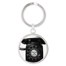Keep Calm Retro Phone Round Keychain