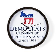 Democrats Cleaning Wall Clock
