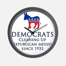 Democrats Cleaning Wall Clock