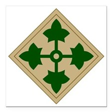 "4th Infantry Division Square Car Magnet 3"" x 3"""