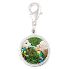 Golden Retriever Puppies Mouse Silver Round Charm