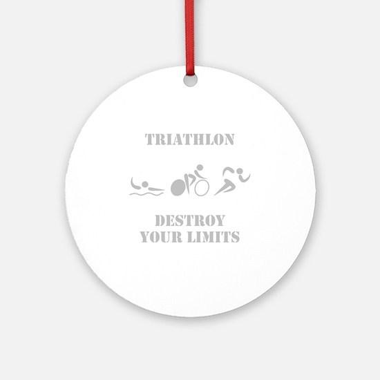 Triathlon Destroy Grey Round Ornament