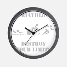 Triathlon Destroy Grey Wall Clock