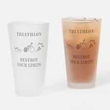 Triathlon Destroy Grey Drinking Glass