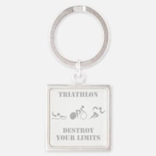 Triathlon Destroy Grey Square Keychain