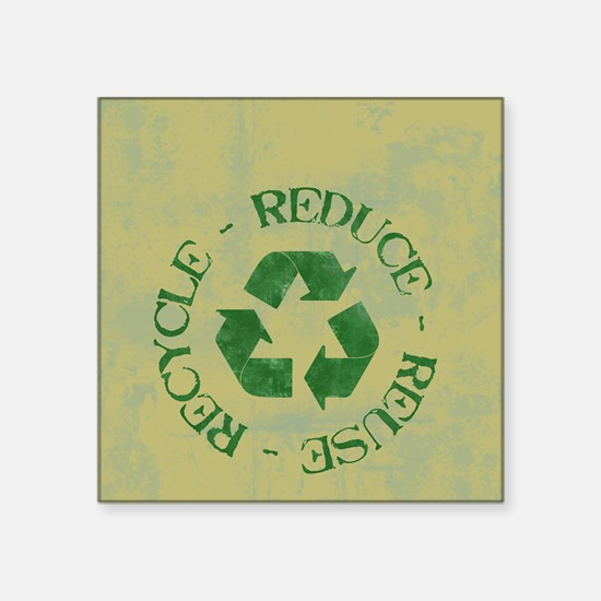"recycle4T2GrungeOliveGreenT Square Sticker 3"" x 3"""