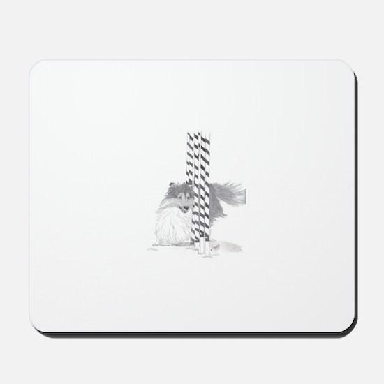 Sheltie weave poles Mousepad