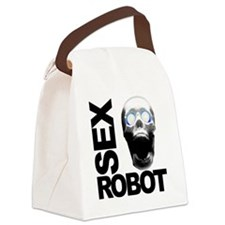 robot white Canvas Lunch Bag