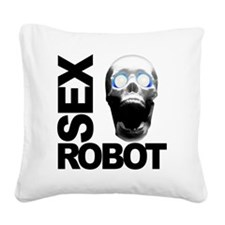 robot white Square Canvas Pillow