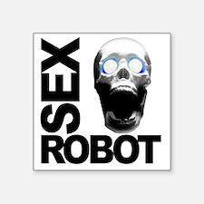 """robot white Square Sticker 3"""" x 3"""""""