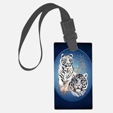 Two White Tigers Oval LargePoste Luggage Tag