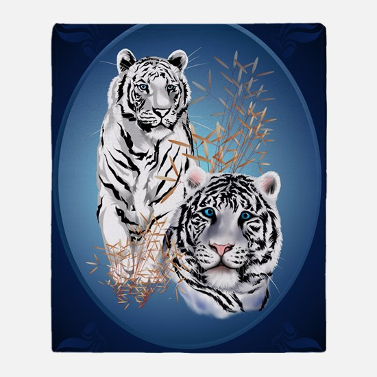 Two White Tigers Oval LargePoster Throw Blanket